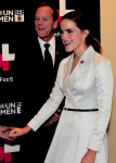 UN Women Goodwill Ambassador Emma Watson and Keifer Sutherland pose for a photo September 20, 2014 at the United Nations in New York on September, 20