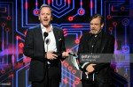Actors Kiefer Sutherland (L) and Mark Hamill speak onstage during The Game Awards 2015 at Microsoft Theater on December 3, 2015 in Los Angeles, California.
